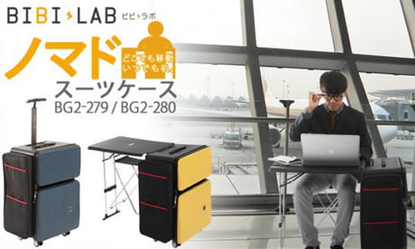 Japan has invented this suitcase with a built-in desk so that you can work wherever you want!