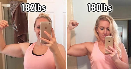 Woman posts dramatic before-and-after pics of 2 pounds loss to prove that weight is meaningless.