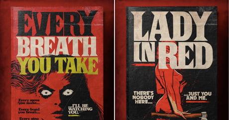 Artist turns classic love songs into vintage horror novel cover art