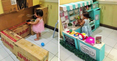 Parenting Done Right! This Mom Built Her Daughter A Kitchen From Cardboard